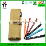 Canvas roll up pencil case, natural canvas rolling pencil pouch                                                                         Quality Choice