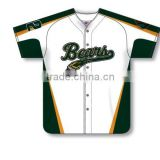 Custom Full Buttons Sublimated Bears Baseball Jersey/Shirt made of Moisture Wicking Cool Polyester fabric