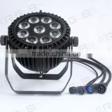 RIGEBA New waterproof 9Leds 15W RGBWA+UV 6IN1 Outdoor IP65 disco,bar,night club LED Par Light
