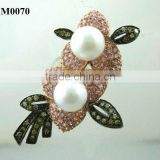 fashion elegant pearl brooch jewelry costume pearl 18 k gold plated