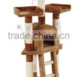 Anji Kaifeng popular small wood and sisal Cat Tree with plush mouse toy ,cat Scratcher Post ,cat climbing frame,cat house KF8018