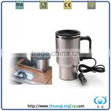 16 OZ 12 V Dual Wall Stainless Steel Electric Heated Travel Mug, USB Coffee Mug, Coffee Cup Warmer
