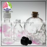 trade assuranc 15ml 30ml 50ml skull shape glass dropper perfume/e-juice/essential oil bottle