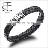 Monogram Braided leather Cuff Bracelet Great Wall Pattern Stainless Steel Mens Bangle with Magnetic Clasp