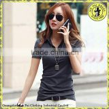 Korean short-sleeved T-shirt woman new POLO collar T-shirt cotton V-neck shirt