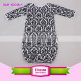 In Stock Damask Long Sleeves Lap Shoulder Jumper Baby Romper Baby Clothes Blank Dress Romper Wholesale Girls Cotton Gowns 0-24 M
