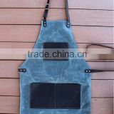Waxed Canvas Apron With High Quality Genuine Leather