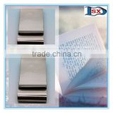 Top grade stainless steel double-sided money clip/two-sided paper clip for outlet