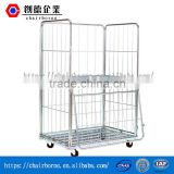 Professional design convenient operation steel rolling storage containers pallet wire cage logistics trolley