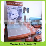 Wooden material wrist watch display counter with acrylic board, custom top grade watch stand