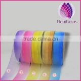 Gradual change color ribbon pink,yellow,blue,purple, 1-1/2inch wide organza ribbon,diy handmade hair accessorie,200 yard / roll.