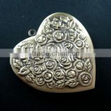 57mm big rose heart shape vintage style antiqued bronze flower photo locket DIY pendant charm jewelry supplies 1131050