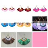 Bohemian ethnic jewelry handmade colorful tassel hoop earrings
