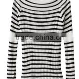 EY0875S New Design 2016 Women Boat Neck Stripe Pullover Sweaters