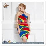 Good quality factory price Rainbow color halter backless dubai wholesale evening dress