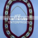 REGALIA MASONIC DAUGHTER OF ISIS, DOI, METAL CHAIN COLLAR MAROON