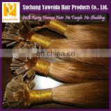 High quality products indian flat tip hair extension light brown color