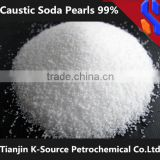 Caustic soda pearls 99% sodium hydroxide Raw material of cosmetic soap paper making oil drilling Manufacturer China