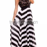 2015 Black White Lace Sleeveless Scoop Neckline Stripe Long Maxi Dress LD1837