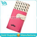 Stock Wholesale Fuschia Yellow Blue Black Pink Orange Mustache Printing PU Leather Hasp Wallet to Import