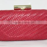 JIACHEN factory sale clutch style weave PU material light gold frame ladies purse for party