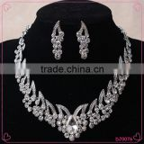 Factory wholesale Crystal silver jewelry set Bling Bling Diamond Necklace Earring Set                                                                                                         Supplier's Choice