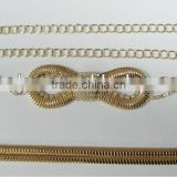 LIGHT GOLD COLOR Metal Chain Belts with Rhinestones, Cloth Accessories, Metal Belts with Stone