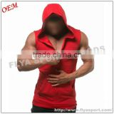 factory wholesale custom 100% cotton printing logo mens loose fit zipper up sleeveless hoodie                                                                                                         Supplier's Choice