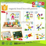 continued selling wooden easel board OEM magnetic board box with patterns EZ2039                                                                         Quality Choice