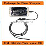 Waterproof USB Endoscope for mobile phone and compute PC laptop 10M Cable 7mm Focus Camera Lens 6 LEDs Nght Vision 1/6 CMOS