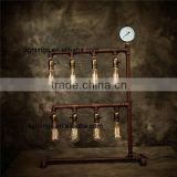 zhongshan lighting fixtures edison water pipe table light, antique brown iron table lamp,8 lights bar table lighting