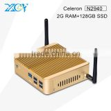 XCY Fanless Embedded Computers X30 N2940 Quad-core 1.83GHz Celeron Linux Gaming PC 2G RAM 128G SSD Good Quality Silence 5*USB