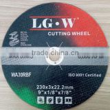 H5985 Resin bond 9'''inch 230*1.6*22.2mm black/green cutting wheel from China cutting disc for metal and stainless steel