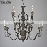 Country Style Wrought Iron Chandelier, Black Antique Chandelier for Dining Table Design MD021-L8+4