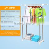 Promotion price portable laundry rack,Double pole laundry dryer rack,Free standing movable clothes hanger