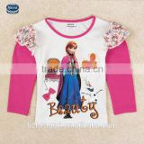 (F5411Y) NOVA kids cloths 2015 new design beauty girl cartoon character printing girls long sleeve lace t-shirt