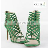 OLNS009 Strappy Suede Upper Zipper Up High Heel Women Sandal in Summer