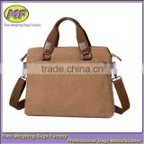 Custom Vintage Style Canvas Hand and Shoulder Men Laptop Briefcase for Business