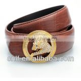 Pure Leather Belt & Leopard Rhinestone Buckle for Women, Leather Belt Factory Direct Selling