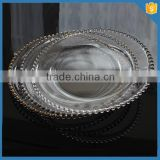 LXHY-P007 Wholesale Rimmed Clear glass beaded charger plate                                                                         Quality Choice