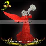 Red lighting acrylic angel with wings angel lighting sculpture