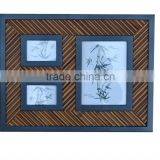 Solid wood and natural bamboo photo frame for 3 pictures