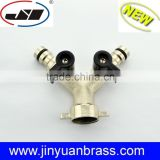 Brass Y shut-off Valve chrome plated garden hose valve Y water valve with butterfly handle 2 way valve