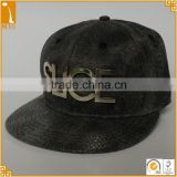 6 panel flat bill custom metal badge fake alligator crocodile baseball cap snapback caps