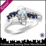 Classic blue sapphire mens and women ring, prong setting silver jewelry wholesale