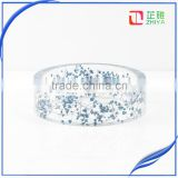 Handmade wide pressed real baby's breath blue dried flower resin bangle for women