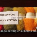 Dyed 100% Merino wool roving for wet and needle felting