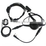 Military Covert Earpiece Grade Tactical Throat Mic Armpit PTT Headset with Finger PTT for KENWOOD