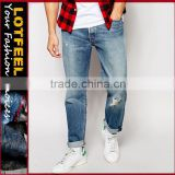 italian branded jeans Distressed slim fit denim man jeans pant tall women jeans jeans garment factory(LOTA044)
