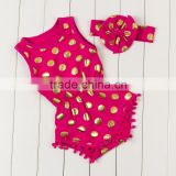 Wholesale baby girls summer clothes romper set with pom pom gold polka dots cotton onesie